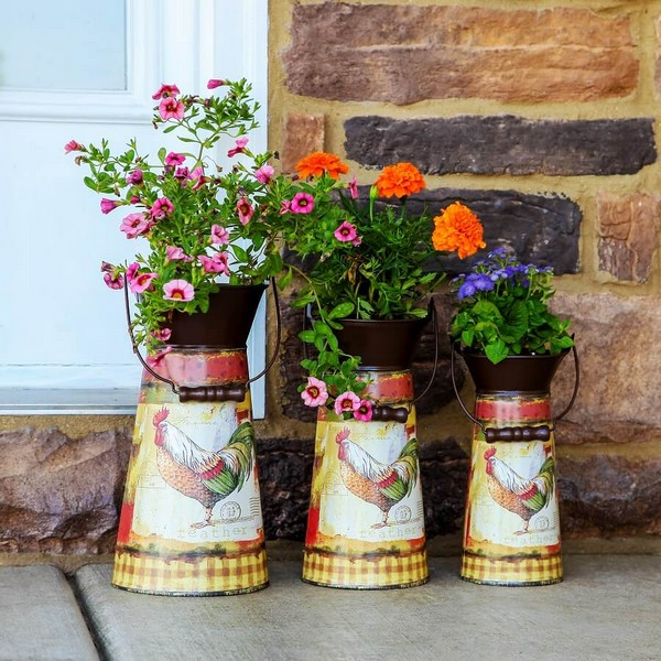 2.Rustic Decorated Metal Pitcher Planters