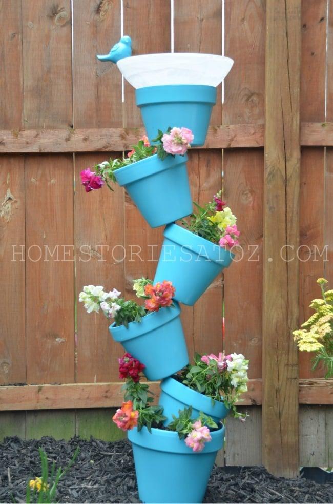 topsy turvy garden pot planters bird bath