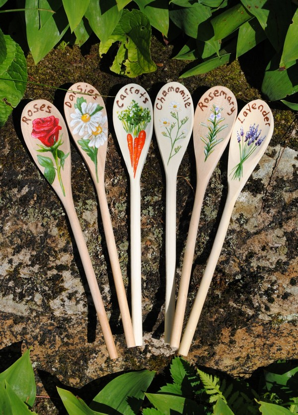 Wooden Spoons as Garden Markers