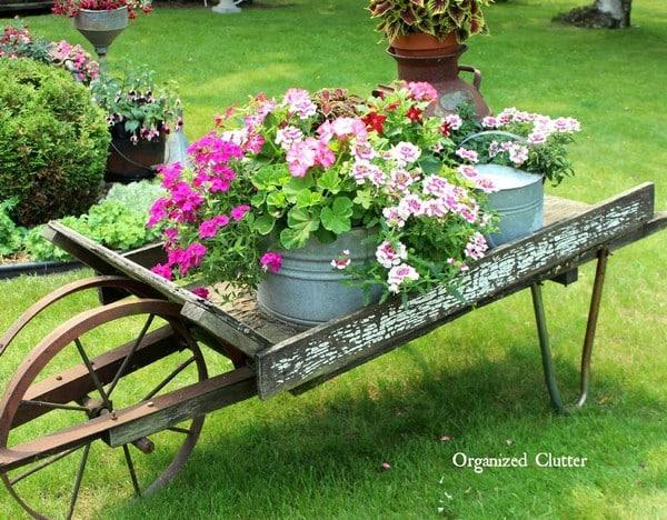 wheelbarrow vintage garden flower display