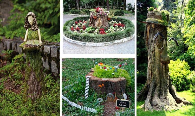 Tree Stump Garden Decoration Yard Landscaping Ideas