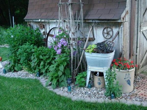Whimsical Garden Bed With Stone Edging