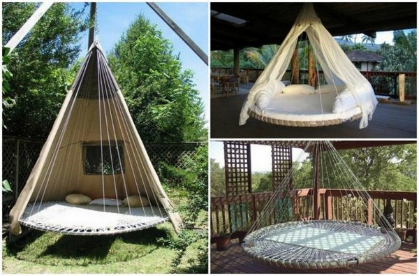 2. Swing Bed Made Of Reused Tr&oline & 15 Wonderful Outdoor Ideas For Giving A New Life To The Old Stuff