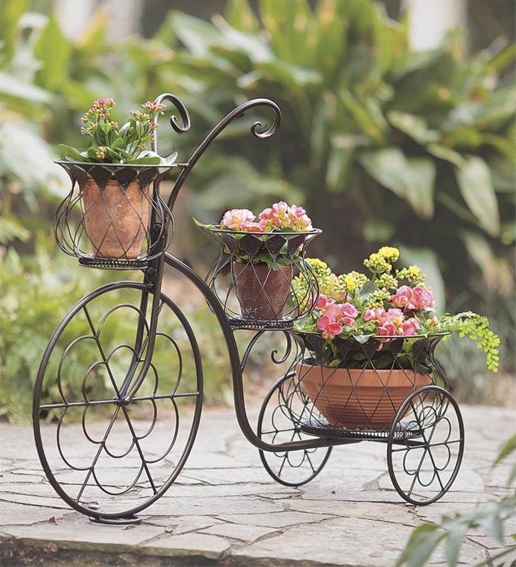 Wrought Iron Tricycle Three Tier Planter