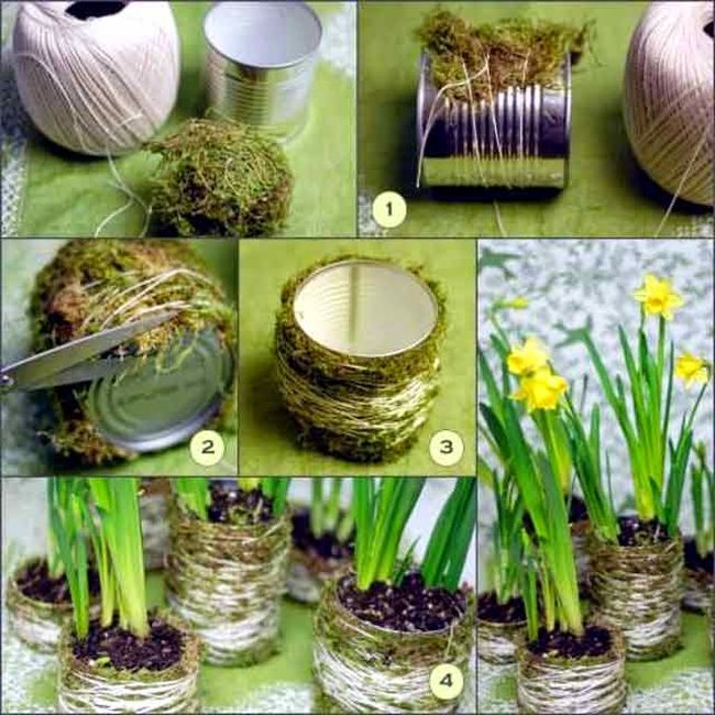 Here is a unique DIY flower pot idea that uses old tins and moss to be  converted into amazing looking flower pots.