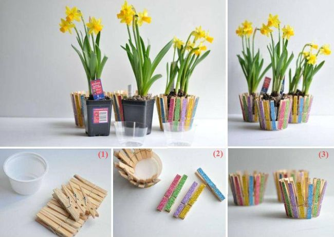 Stylish DIY wooden strip flower pot