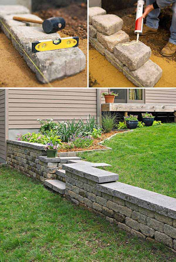20 inspiring tips for building a diy retaining wall construct it with concrete blocks and then adorn it with stone facadethey varying heights add interest to the garden solutioingenieria Images