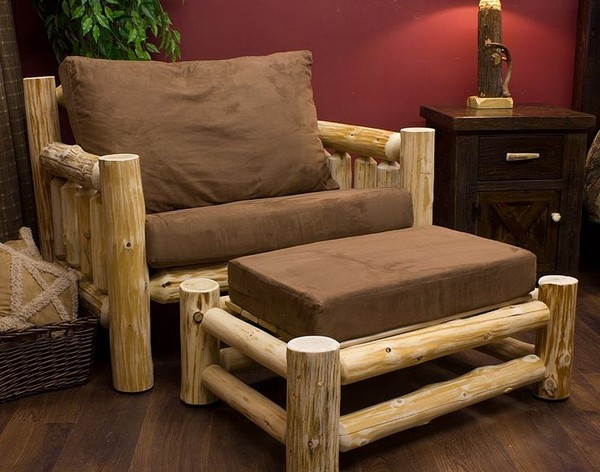 Bon Beautiful Rustic Log Lounge Chair