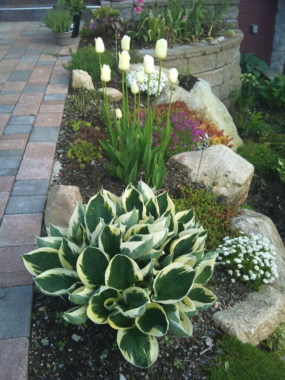 Rock Flower Beds In Front Of House